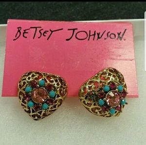 NWT Betsey Johnson Heart Earrings w/ Rhinestones